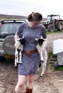 amanda with lambs
